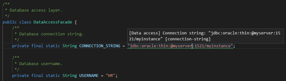 Source code file with connection string highlighted